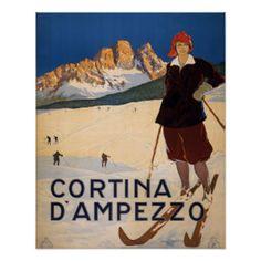 Vintages Plakat - Cortina d'Amprezzo