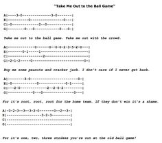 Take Me Out to the Ball Game Ukulele Fingerpicking Pattern Ukulele Tabs Songs, Ukulele Fingerpicking Songs, Ukulele Songs Beginner, Uke Tabs, Music Tabs, Guitar Songs, Guitar Tabs, Guitar Chords, Guitar Lessons For Beginners