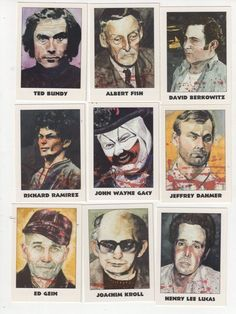 Macabre collectors cards of the most notorious Serial Killers. What kind of a world is this? Not only did these monsters exist, but trading cards? John Wayne, Paranormal, Famous Serial Killers, Soirée Halloween, Jeffrey Dahmer, Real Monsters, Ted Bundy, Crime Books, Evil People