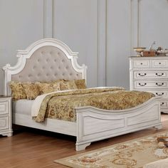 Jennings Traditional Antique White Carved Button Tufted Bed by FOA (California King - Upholstered/Wood), Furniture of America Tufted Bed, Upholstered Platform Bed, Couches, Padded Fabric Headboards, Tufted Headboards, Panel Bed, Bed Styling, Bed Sizes, Bed Design