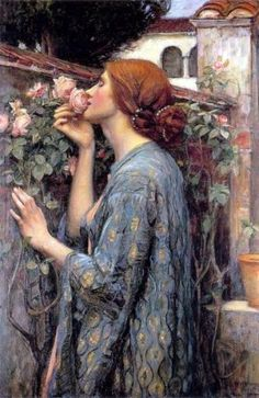 A woman smelling a rose in garden, thought to be based on the work of Alfred Lord Tennyson