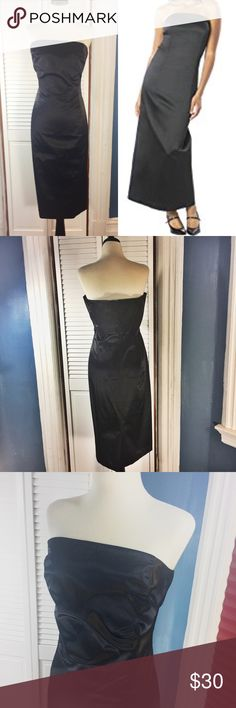 """Isaac Mizrahi for Target Strapless Sateen Dress Beautiful dress. Perfect for the upcoming holidays. Strapless.  Boned bodice. Zipper on back. Fully lined. Dry clean only. Material: Outer: 53% cotton, 44% polyester, 3% spandex. Lining: 100% polyester. Approximate measurements (measured flat): bust: 14"""", waist: 15.5"""", length: 40"""". Excellent used condition. No signs of wear. Isaac Mizrahi  Dresses Midi"""