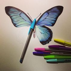 Bic Pen Drawings by Sarah Esteje Copic Drawings, Sketchbook Drawings, Pencil Drawings, Sketching, Biro Art, Ballpoint Pen Drawing, Object Drawing, Butterfly Drawing, Pretty Drawings