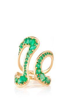 Stream Open Ring in Emeralds by Fernando Jorge Resort 2016 - Preorder now on Moda Operandi