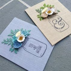A couple of my favorite designs! Available in the shop and completely customizable! Choose either natural burlap or grey burlap canvases and choose your own flower colors. (Frame these out or display as is) What color flowers would you choose? Felt Crafts, Crafts To Make, Fabric Crafts, Crafts For Kids, Paper Crafts, Diy Crafts, Couple Crafts, Felt Flowers, Fabric Flowers