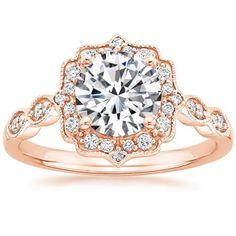14K Rose Gold Cadenza Halo Diamond Ring, top view