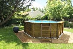 Aqua-World Above Ground Wood Pool, x Round Pool in Garden & Patio, Swimming Pools & Hot Tubs, Other Swimming Pool & Hot Tub