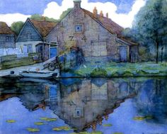 Piet Mondrian (Pieter Cornelis Mondriaan) (Dutch, Post-Impressionism, House on the Gein, Watercolor and Gouache, 46 x 57 cm. © Mondrian/Holtzman Trust c/o HCR International Virginia. Piet Mondrian, Mondrian Kunst, Kandinsky, Landscape Art, Landscape Paintings, Dutch Painters, Dutch Artists, Art Moderne, Art Abstrait