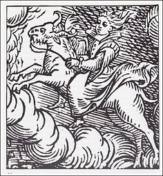 A practitioner rides upon the back of a goat familiar, woodcut from 1626