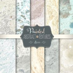 Abstract Painted Light Textures: 10 Digital Paper Pack. Textured, grungy, distressed, stone, marble, scrapbooking.