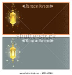 Ramadan kareem greeting card design template with light effect and lamp. Vector Flyer or brochure design with Particle star light effect and ornament background - stock vector