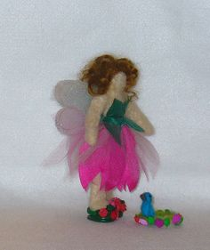 NeedleFelted WaldorfStyle Faerie Doll with Blue by LadyAstarte, $65.00