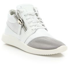 Giuseppe Zanotti Leather & Mesh Side-Zip Sneakers (26,400 THB) ❤ liked on Polyvore featuring shoes, sneakers, apparel & accessories, mesh sneakers, leather shoes, cushioned shoes, genuine leather shoes and lace up sneakers