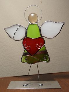 Tiffany Stained Glass Angel with Heart by ArtesanaPL on Etsy, $40.00