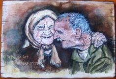 """Brîndușa Art True love gets better with age… and never gets old. """"Grow old along with me! The best is yet to be…"""" (Robert Browning) Old couple – acrylic painting on wood, 19.6 x 13.7 in (50 x 35 cm).  Dragostea adevărată merge din bine în mai bine odată cu înaintarea în vârstă… şi nu îmbătrâneşte niciodată. """"Îmbătrâneşte împreună cu mine! Ce e mai bun încă n-a fost…"""" (Robert Browning) Cuplu în vârstă – pictură pe lemn, culori acrilice, 50 x 35 cm."""