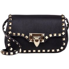 Pre-owned Valentino Rockstud Black Cross Body Bag (£970) ❤ liked on Polyvore featuring bags, handbags, shoulder bags, black, leather shoulder bag, shoulder strap bags, mini crossbody, genuine leather handbags and mini shoulder bag
