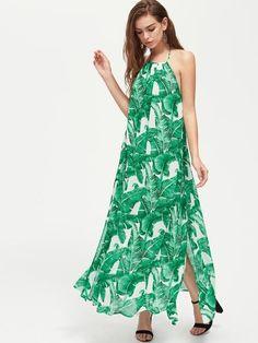 Green Palm Leaf Backless Halter Maxi Dress