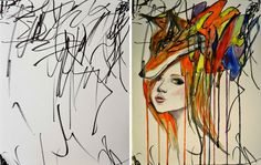 Canadian artist and mother Ruth Oosterman started collaborating with her 2-year-old daughter Eve earlier this year. Ruth takes Eve's doodles and adds watercolors to them, turning the collabo...