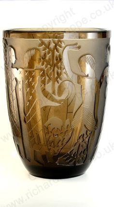 Vintage Amber Glass. Bayel France massive sandblast cut deco vase, c.1930s
