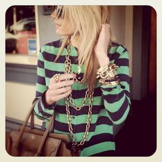 I LOVE the gold chain stacks with Colorful stripes