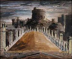 John Piper watercolour. During the Second World War, Kenneth Clark recommended that Windsor Castle should be painted in a series of studies- by John Piper. There was a very real fear that, in the event of a German invasion, the castle could be destroyed. Piper's work is superb, and the castle is depicted against menacing and brooding English skies: