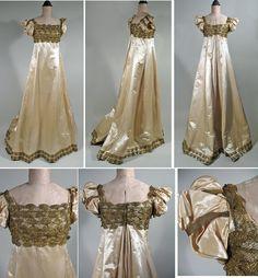 1890s Aesthetic Dress In Cream Satin & Gold Braid with Original Accessories