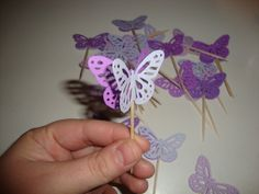 purple butterfly cupcake toppers