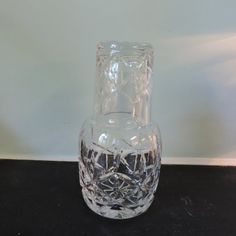 Lead Crystal Bedside Water Carafe and Glass by SunflowerShackLLC,