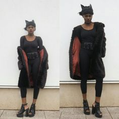 Halloween   #cat #cateyes #makeup #allblack #fauxfur Halloween Cat, All Black, Faux Fur, The North Face, Makeup, Blog, Jackets, Fashion, Make Up