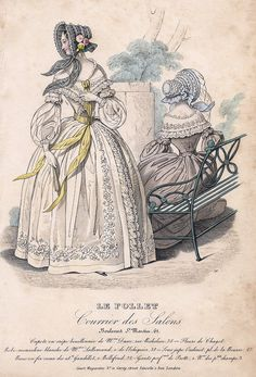 """Le Follet Fashion Plate - 1850 - """"""""COURIER DES SALONS"""""""" - H-C Lithograph"""