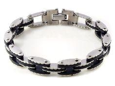 """C$ 3.07 Trouver plus Bracelets d'identification Informations sur 8.5"""" NEW Stainless Steel Bracelet Black Rubber Silver Link Bangle Wristband Cuff, de haute qualité bracelet passer, bracelet sport Chine Fournisseurs, pas cher Bracelet macramé de Li juan Jewelry---Free Shipping((No Minimium) sur Aliexpress.com"""