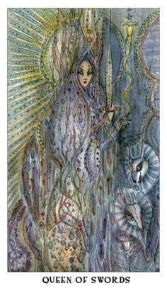 QUEEN OF SWORDS  Strong willed, honest, articulate, dignified, reserved, faces the truth, protective, quick-witted.    From the Paulina Tarot Deck