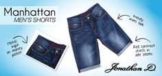 Celebrate spring in style with Jonathan D's Manhattan men's shorts. Made from a hard wearing yet ultra comfortable denim, they feature 5 pockets, rolled up hems with sand blasting detailing and a subtle but stylish crinkle effect. Premium Brands, Sophisticated Style, Crinkles, Summer Collection, Manhattan, Menswear, Pockets, Shorts, Denim