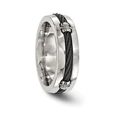 Signature Cable Titanium & Cable Polished Band // 7mm (Size 7)