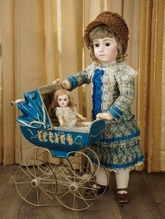 Sanctuary: A Marquis Cataloged Auction of Antique Dolls - March 19, 2016: Beautiful Brown-Eyed French Bisque Bebe Triste by Emile Jumeau, Size 13