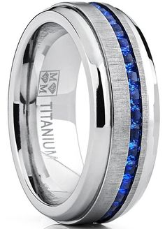 Men's Titanium Wedding Band Engagement Ring W/ Blue Simulated Sapphire Cubic Zirconia Princess CZ 10