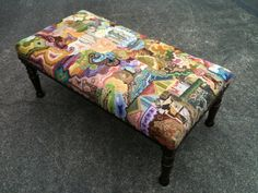 Lovely old Ottoman upholstered in clients own needlework. Gorgeous