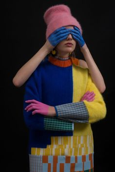 """Chen Zhi celebrates fashion's """"superficial"""" reputation with colourful knitwear collection Knit Fashion, Pop Fashion, Fashion Prints, Fashion Design, Fashion Details, Fashion Art, Fashion Photography Inspiration, Style Inspiration, Mode Pop"""