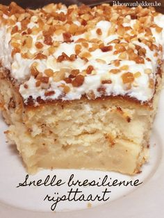 Ik hou van bakken: Snelle brésilienne rijsttaart (nougatine) Bbq Desserts, No Bake Desserts, Delicious Desserts, Yummy Food, Baking Recipes, Cookie Recipes, Snack Recipes, Dessert Recipes, Patisserie