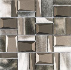 Shop for TileGen. Random Sized Metal Mosaic Tile in Gray/Gold Wall Tile Get free delivery On EVERYTHING* Overstock - Your Online Home Improvement Shop! Get in rewards with Club O! Ceramic Mosaic Tile, Stone Mosaic, Mosaic Glass, Silver Walls, Gold Walls, Online Tile Store, Glass And Aluminium, Glass Installation, Brick Design
