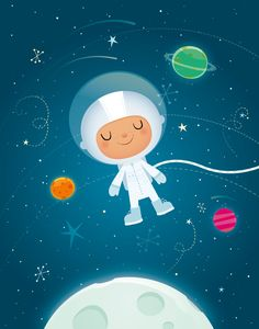 Little space boy floats happily in deep space