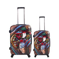 This gorgeous, artistic luggage set features a polycarbonate exterior with matte finish. A fully lined interior with multiple pockets and zippers lining ensure that this luggage set will keep you organized and in style.