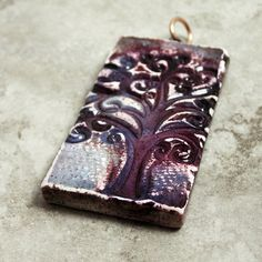 SALE Autumn Tree at Dusk, Polymer Clay Pendant