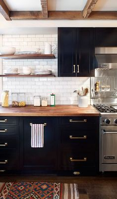 Nice small kitchen. Adjustments: No top cabinets over stove; shelves for spices, rice & pasta, etc. only. Like the Viking stove. ALM