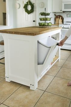 DIY movable  Kitchen Island with Trash Storage