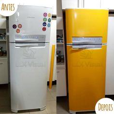 Envelopamento de geladeira em amarelo - Antes e Depois