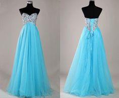 Blue Sweetheart Neck Beaded Ball Gown, Tulle Sequined Pastel Blue Princess Dress, Sweet 16 Dress