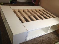 DIY platform bed, can put in baskets for storage. Happy Huntsman: DIY Storage Bed