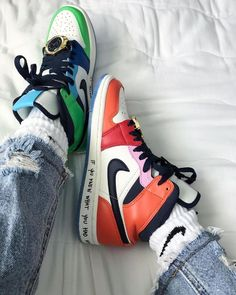 """Melody Ehsani x Air Jordan 1 Mid """"Fearless"""" White/Black/Half Blue/Habanero Red For Sale Jordan Shoes Girls, Jordan Outfits, Sneakers Fashion, Fashion Shoes, Sneakers Nike, Nike Fashion, Mens Fashion, Trendy Shoes, Casual Shoes"""