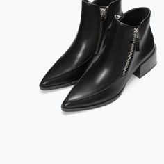 WITH Bottes ZIP LEATHER Fermeture Femme BOOT ZARA WOMAN Cuir Éclair ANKLE x1nC47